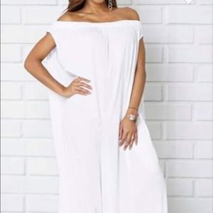 Pants - White off shoulder jumpsuit